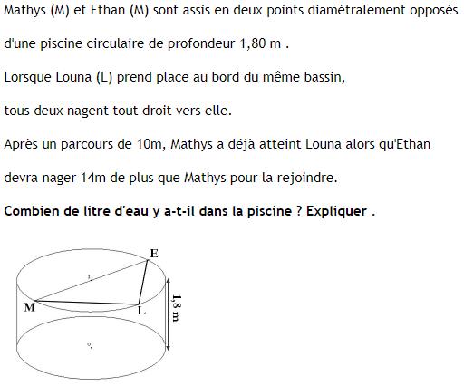 Problème ouvert de la piscine, théorème de pythagore, cercle circonscrit. : exercices en 4ème.