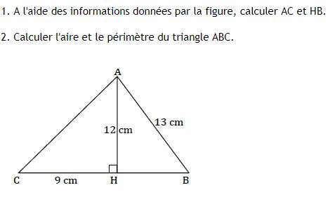 Théorème de Pythagore. : exercices en 4ème.