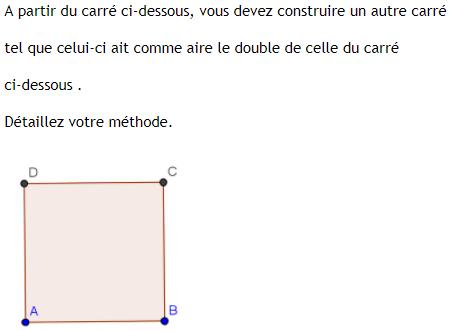 Problème ouvert et calcul d'aire d'un carré. : exercices en 4ème.