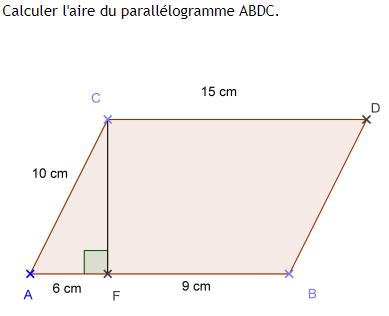Parallélogramme et théorème de Pythagore : exercices en 4ème.