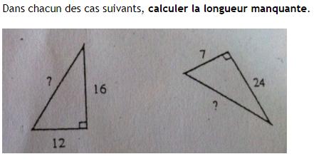 Théorème de Pythagore et calculs de longueurs : exercices en 4ème.