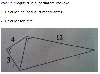 Quadrilatère convexe et théorème de Pythagore : exercices en 4ème.