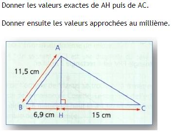 Pythagore - calcul. : exercices en 4ème.