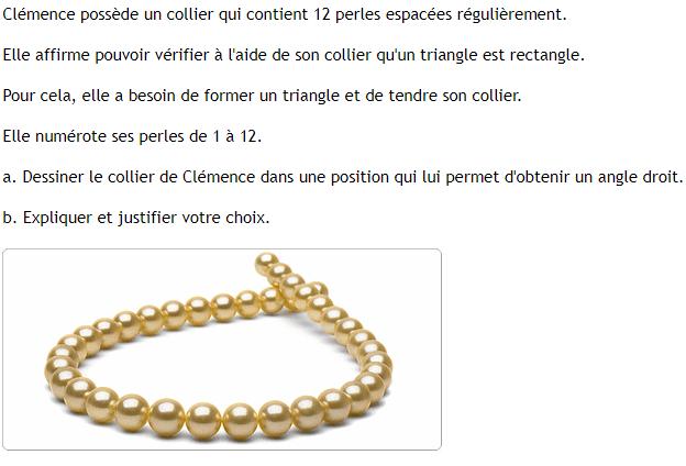 Le collier de Clémence : exercices en 4ème.