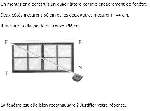 Pythagore et fenêtre rectangulaire : exercices en 4ème.
