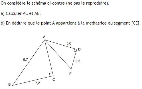 Pythagore et médiatrice : exercices en 4ème.