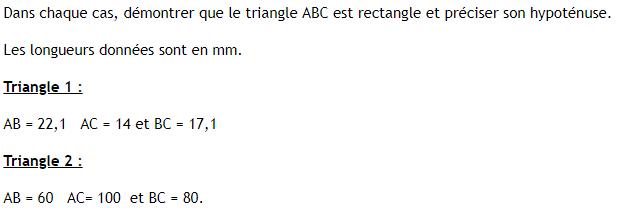 Réciproque du théorème de Pythagore - application. : exercices en 4ème.