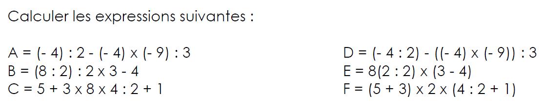 Nombres relatifs et parenthèses : exercices en 4ème.
