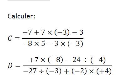 Fractions et nombres relatifs : exercices en 4ème.