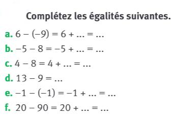 Compléter les égalités : exercices en 5ème.