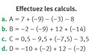 Effectuer les calculs suivants : exercices en 5ème.