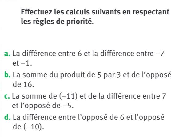 Calculs et vocabulaire des opérations : exercices en 5ème.