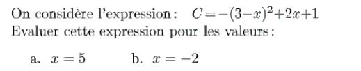 Expression littérale et nombres relatifs : exercices en 4ème.