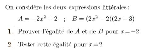 Calculs d'expressions littérales : exercices en 4ème.