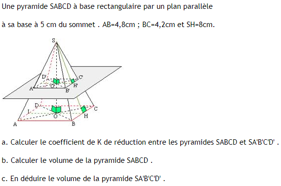 Coefficient de réduction et pyramide. : exercices en 3ème.