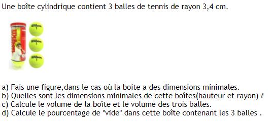 Boîte cylindrique et balles de tennis : exercices en 3ème.