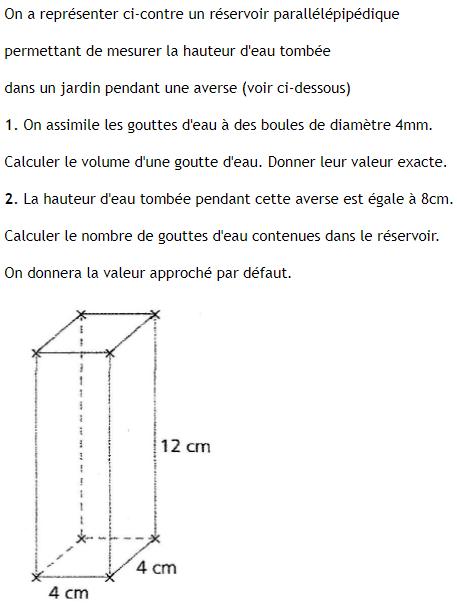 Un réservoir parallélépipédique : exercices en 3ème.