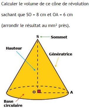 Volume d'un cône de révolution : exercices en 3ème.