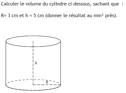 Volume d'un cylindre : exercices en 3ème.