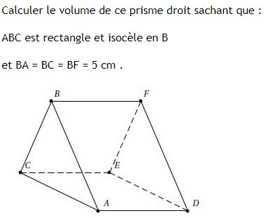 Prisme droit et base triangulaire rectangle : exercices en 3ème.