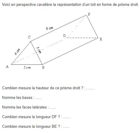 Perspective cavalière d'un prisme droit : exercices en 5ème.