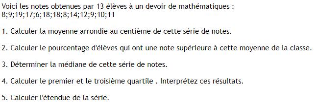 Note d'élèves et statistiques. : exercices en 3ème.
