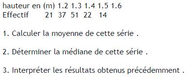 hauteur et statistiques : exercices en 3ème.