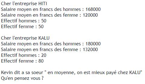 Entreprise et statistiques. : exercices en 3ème.
