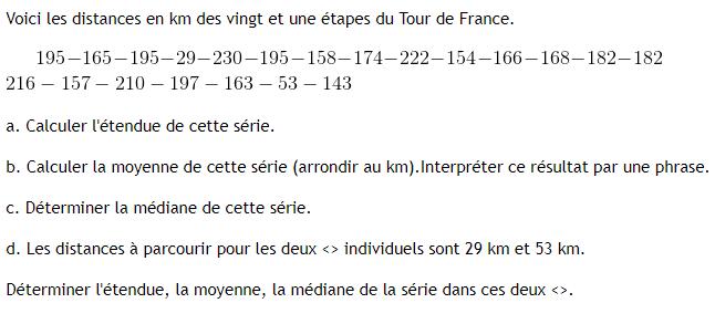 Calculs statistiques. : exercices en 3ème.