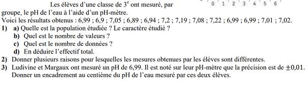 Le Ph de l'eau et statistiques : exercices en 3ème.
