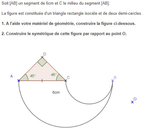 Symétrie centrale de cercles : exercices en 5ème.