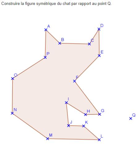 Symétrie centrale d'un chat : exercices en 5ème.