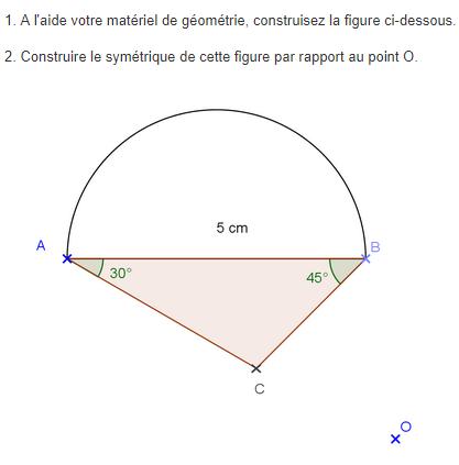 Symétrie centrale d'une figure : exercices en 5ème.