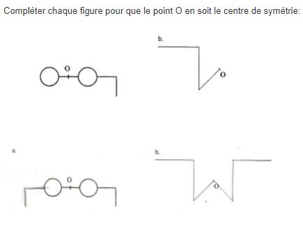 Centre de symétrie d'une figure : exercices en 5ème.