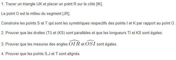Symétrie centrale et propriétés : exercices en 5ème.