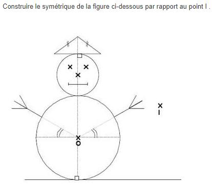 Symétrie centrale - bonhomme de neige. : exercices en 5ème.