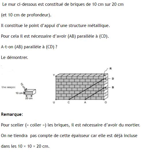 Mur et théorème de Thalès : exercices en 3ème.