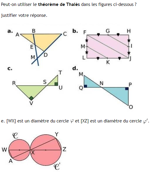 Utilisation du théorème de Thalès : exercices en 3ème.