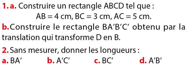 Utiliser les propriétés de la translation : exercices en 4ème.