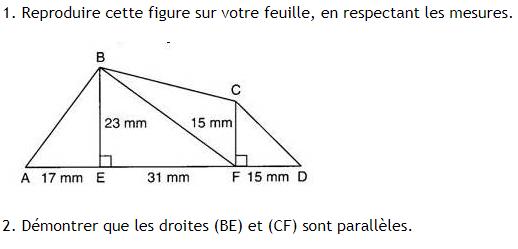 Construction de figures géométriques. : exercices en 6ème.