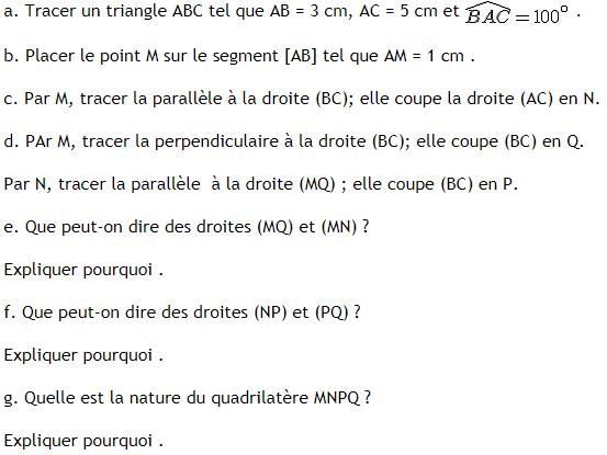 Quadrilatère inscrit dans un triangle . : exercices en 6ème.
