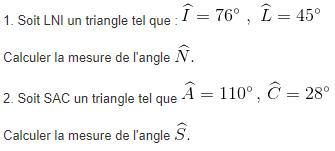Somme des angles d'un triangle. : exercices en 5ème.