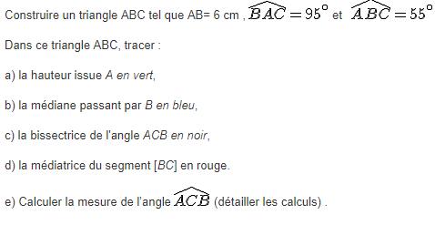 Triangle, hauteur,médiatrices,bissectrices et médianes : exercices en 5ème.