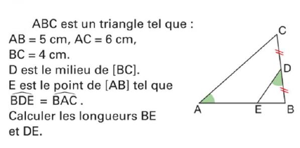 Calculer les longueurs BE et DE : exercices en 4ème.