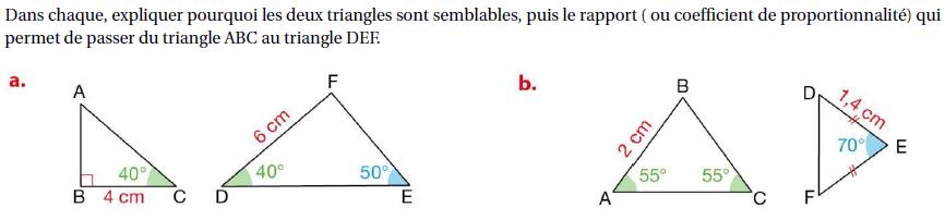 Triangles semblables et coefficient de proportionnalité : exercices en 4ème.