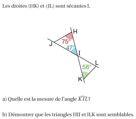 Angles opposés par le sommet : exercices en 4ème.