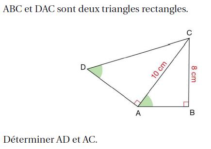 Deux triangles rectangles : exercices en 4ème.