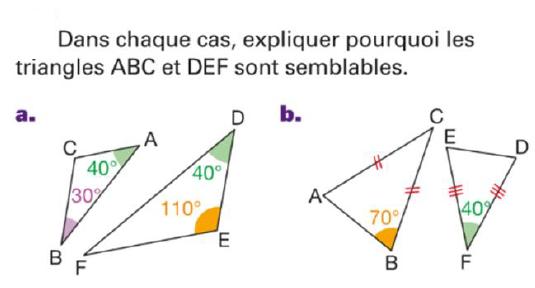 Pourquoi les triangles sont semblables? : exercices en 4ème.
