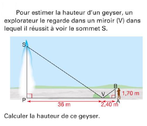 La hauteur d'un geyser : exercices en 4ème.
