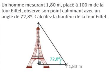 Calculer la hauteur de la tour Eiffel : exercices en 3ème.